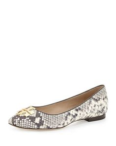 Raleigh Logo Ballet Flat, Roccia/Coconut by Tory Burch at Neiman Marcus.