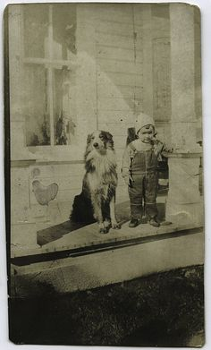 Boy and Dog On The Porch