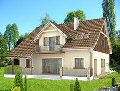 DOM.PL™ - Projekt domu HG-C1A CE - DOM AL1-60 - gotowy koszt budowy Home Design Plans, Home Fashion, Shed, Outdoor Structures, House Design, Cabin, Mansions, House Styles, Home Decor