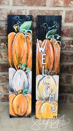 Mini Fall Wecome Sign Fall decor pumpkin welcome sign pumpkin decor happy fall sign front door welcome sign autumn decor autumn sign Wood Pallet Art Painting Autumn Painting, Fall Paintings, Wood Paintings, Welcome Fall, Fall Signs, Fall Pallet Signs, Fall Projects, Craft Projects, Pallet Art