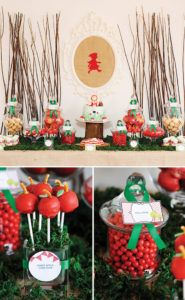 red apple cake pops and little red riding hood dessert table