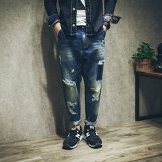 33.21$  Buy here  - 2017 new arrive fashion male autumn hole beggar jeans casual harem patchwork pencil jeans plus size plus size
