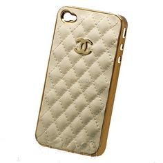 High Quality Quilted Leather iPhone 5 Case, Gold Bumper Cover via Etsy