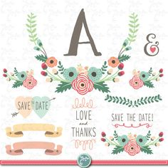 Wedding Clipart pack WEDDING FLORAL clip art pack by YenzArtHaut