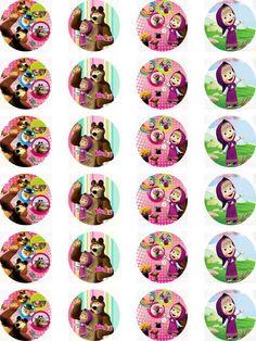 Masha and the Bear Edible Wafer Card 24 Precut Cupcake/Fairy cake Toppers in  | eBay!