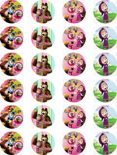 Masha and the Bear Edible Wafer Card 24 Precut Cupcake/Fairy cake Toppers in  | eBay!