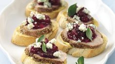 "Italian for ""little toasts,"" crostini also describes savory canapés like these tangy-sweet teasers."