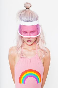 SUNBELIEVABLE || SHOP THE LOOK: http://www.goodbyebread.com/collections/tops/products/rainbow-halter-bodysuit #goodbyebread #photoshoot #styleinspo #pink #rainbow #halter #bodysuit #pink #hair #transparent #visor