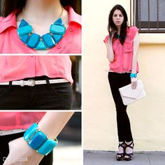 Check out Candied Coral Blue Look by Mustard Seed and Sneak Peek at DailyLook