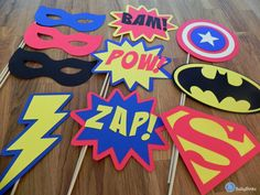 Photo Props: The Super Hero Set (10 Pieces) - party wedding birthday engagement die cut superhero mask pow superman america batman stick