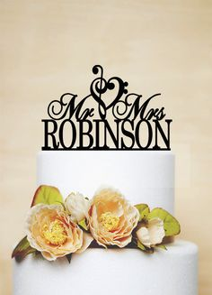 Mr And Mrs Wedding Cake Topper With Your Last Name by AcrylicDesignForYou