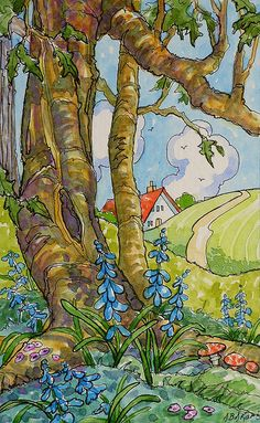 """The Bluebell Wood Storybook Cottage Series"" - Original Fine Art for Sale - © Alida Akers Alida, Great gnarly, old tree, who lives there? Cute Illustration, Watercolor Illustration, Watercolor Art, Storybook Cottage, Cottage Art, Pintura Country, Vintage Quilts, Whimsical Art, Art Images"