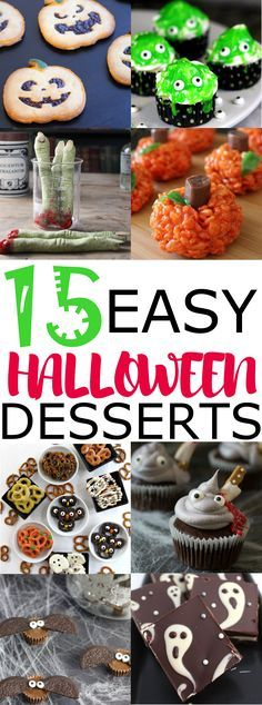 15 super easy to make Halloween dessert. Perfect for people who are struggling to pull things together last minute. I absolutely love all the recipes included, super easy to make, some only need 3 ingredients! Halloween Desserts, Diy Halloween Door Decorations, Halloween Porch, Halloween Food For Party, Holidays Halloween, Spooky Halloween, Halloween Treats, Halloween Baking, Halloween Makeup