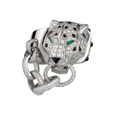 Panthère de Cartier Rings Collection: Cartier Panthère ring in 18kt White Gold Diamonds Onyx Emeralds