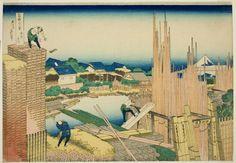 Katsushika Hokusai  Japanese, 1760-1849, Tatekawa River Lumberyard at Honjo (Honjo Tatekawa), from the series Thirty-six Views of Mount Fuji (Fugaku sanjurokkei)