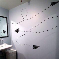 Paper airplane wall decal