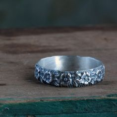 Flower Ring Sterling Silver Band by ThirtySixTen on Etsy