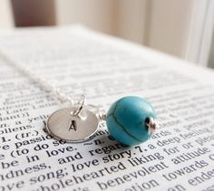 Turquoise and sterling silver personalised necklace