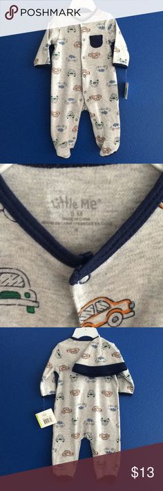 NWT baby footed pajama with matching hat cars 3M Brand new with tags. Was given as a gift but was too small before he could wear it. Long sleeve long pants footed onesie romper. Decorated with cars that look like Volkswagens. Button snap closure tags attached tiny pocket at the chest for includes fold over hat with matching car print. Bundle and save with other items in my closet 20% would make a great gift for a baby shower. Little Me One Pieces Footies