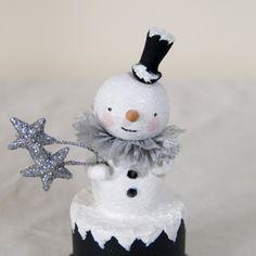 Vintage style Christmas folk art  portly snowman figure