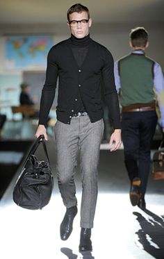 """""""Dsquared2 SS12, love the cardigan over the roll neck"""" Emerson Wilde"""