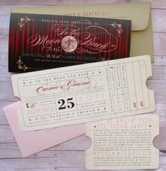 Ticket Save the Date, Wedding, Special Event, Hollywood Inspired, Premiere Night, Red Carpet, Black, Gold, Theater Ticket, Movie Ticket, Chevron Pattern, Geometric Pattern