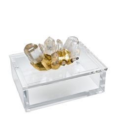 ✯ Rock Crystal w/ Gold on Clear Lucite Box :: By Eduardo Garza ✯