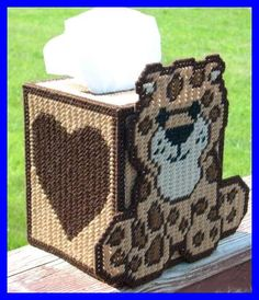 Webkinz Leopard Plastic Canvas Tissue Box Cover