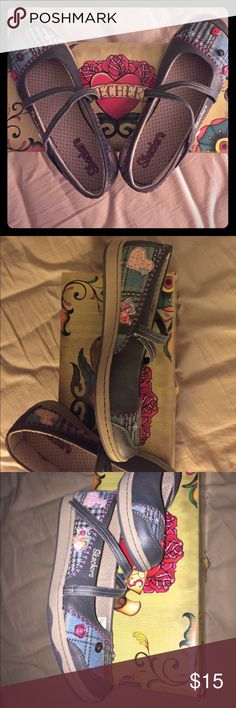 Cute Mary Jane shoes - Coraline style! Cute button design with blue plaid and pink stitches Skechers Shoes Flats & Loafers