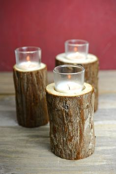 Branch Votive Candle Holders, Natural Wood
