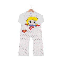Macacão Infantil de Manga Longa Supergirl Poá #Supergirl #DCComics #bandUP