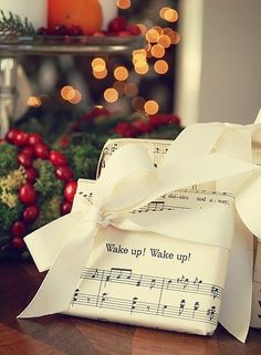 Christmas Gift Wrapping Ideas • could print out favorite Christmas carols!