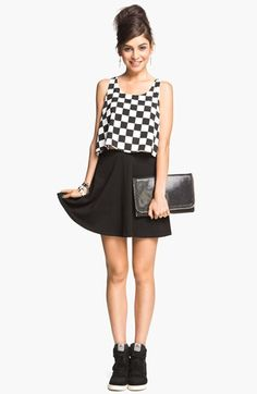 Cute, skater girl! Black & white checkered top and black skirt