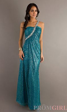 Long One Shoulder Sequin Gown at PromGirl.com