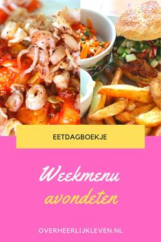 Wat eten we vandaag?  Ik at deze week - Rijsttafel - Tagliatelle - Gebakken aardappeltjes met tuinbonen en groentesticks  - Witte rijst met inktvis - Aardappelpuree met witte bonen en groente burger - Bonenburger met wortelsalade en patat - Pasta met zalm en groene groenten   #weekmenu #eetdagboekje #wateetenwevandaag Falafel, Potato Salad, Potatoes, Pasta, Chicken, Ethnic Recipes, Food, Mushroom, Potato