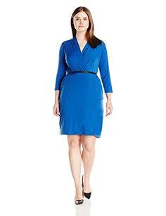 Single Dress Women's Plus Size Faux Wrap Ity Knit Dress W-$19.54