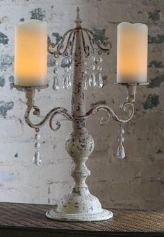 Check out the deal on Antique Ivory Candelabra 20 Inch - 2 Tier for Pillar and Taper Candles at Battery Operated Candles Thanksgiving Centerpieces, Candle Centerpieces, Candle Lanterns, Centerpiece Ideas, Vintage Shabby Chic, Shabby Chic Decor, Table Scapes, Taper Candles, French Chic