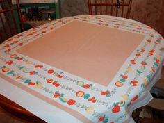 1950s Vintage Fruit Cotton Tablecloth 48 3/4 x 51 by lakeviewarts, $8.00