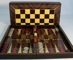 Brown Croc Trim Backgammon Set & Chessboard - The Game Supply