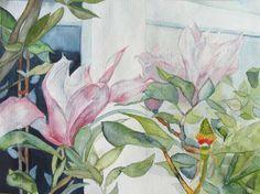 Magnolien Blüten als Frühlingsboten (c) Aquarell von Frank Koebsch | Blüten vor dem Fenster (c) Aquarell von Frank Koebsch