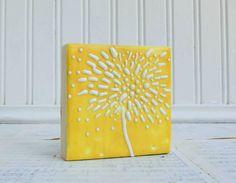 Dandelion Yellow Original Encaustic Mini Painting by susannajarian, $25.00