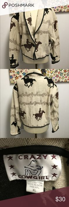 Crazy Cowgirl Horse Equestrian Blazer Size XL 100% cotton blazer style jacket. Great for the cowgirl in you! Crazy Cowgirl Jackets & Coats Blazers