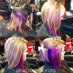 Heavy blonde highlight with pink and purple peekaboos and an Aline haircut