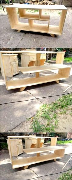 Creative ideas for DIY TV stand plans, very cheap and easy to do. Find the perfect TV Stand for your TV with any sizes. Diy Furniture Tv Stand, Wooden Pallet Furniture, Wooden Pallets, Wooden Diy, Furniture Ideas, Simple Tv Stand, Diy Tv Stand, Tv Stand With Fireplace Insert, Homemade Tv Stand