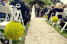 wedding flowers succulents moss ball aisle decor