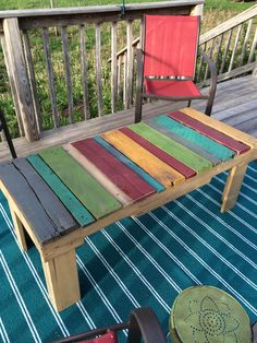 Pallet Table for my deck.    Made using the instructions from the Beyond The Picket Fence Blog.   Very quick to make.