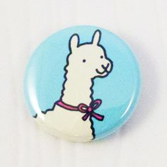 Llama with a Bow Button by sugarcookie on Etsy, $2.00