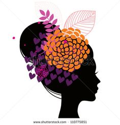 Woman Silhouette Vector | Women's silhouette with abstract flowers