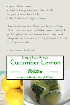 Instead of filling up with sugar-laden soda or juices or dehydrating caffeinated beverages, try some naturally-flavored, refreshing options. My Simple | Pure | WholeTM Cucumber Lemon Water is alkalizing and refreshing, especially on a hot summer's day! It provides subtle flavors without complicated additives or harmful sweeteners.