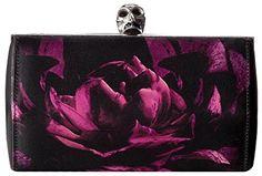 Alexander McQueen Black Purple Floral Satin Hexagon Box Clutch Handbag